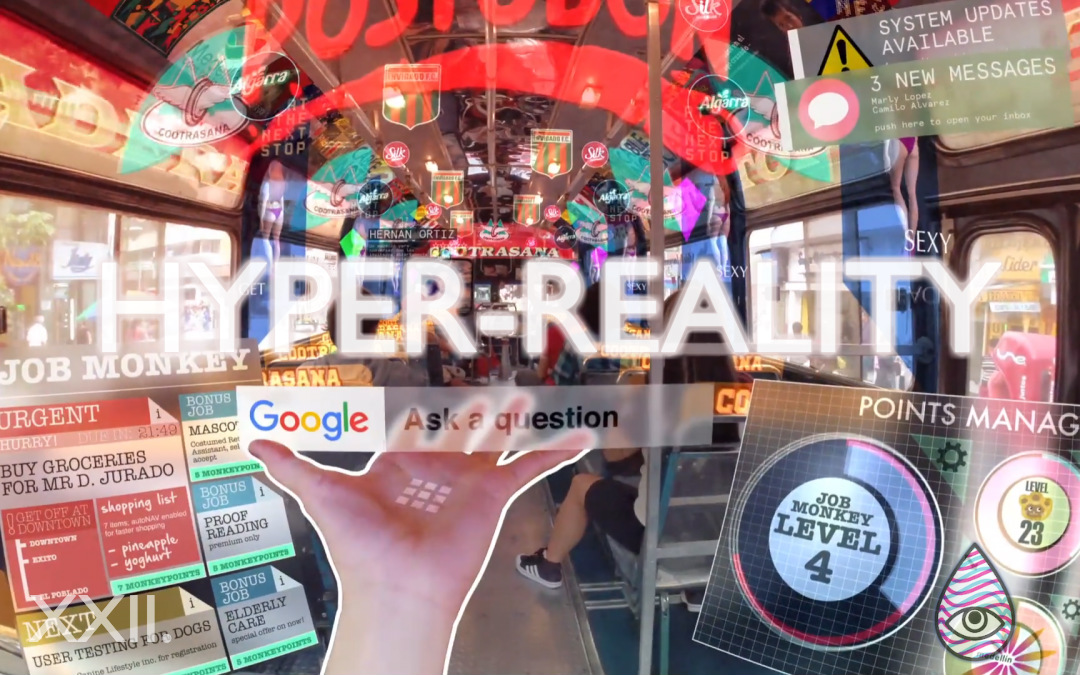 hyper reality Hyper-reality presents a provocative and kaleidoscopic new vision of the future,  where physical and virtual realities have merged, and the city.